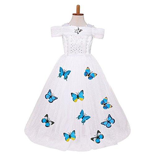 Doris Batchelor Nice Kids Girl cosplay carnival costume kids belle princess dress for Christmas Halloween Dress For 3-10yrs white 6 ()