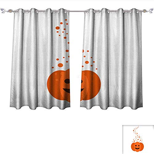 DragonBui Blackout Window Curtain Magic Pumpkin for Halloween Tie Up Printed Blackout Curtain W55 x L39/Pair