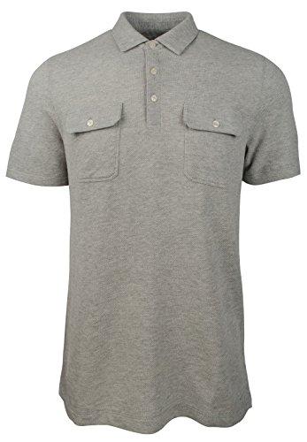 - Michael Kors Men's Textured Dual Pocket Polo Shirt-HG-XL Heather Grey
