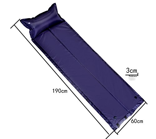 Lightweight Self-Inflating Outdoor Convenient Camp Pad Tent Air Mattress Sleeping Pad Mats with Attached Pillow for Backpacking Camping, 2.2 lb. (Blue, Fold)