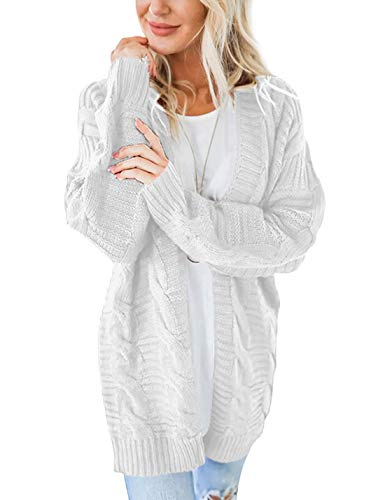 Omoone Women's Long Sleeve Open Front Chunky Oversized Knitted Sweater Cardigan (White, XL)