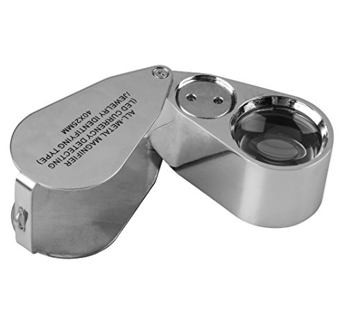 YutaoZ 40X-25MM LED Illuminated Jewel Loupe, All-metal Magnifier with LED Light for Currency Detecting & Jewel Identifying