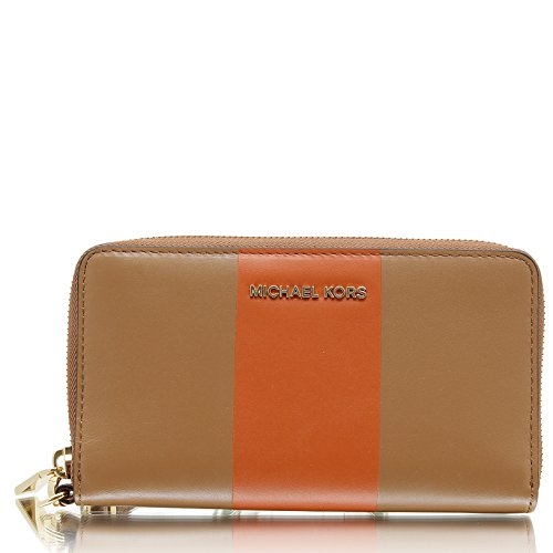 MICHAEL KORS Colorblock Leather Wristlet in Acorn/Orange by Michael Kors