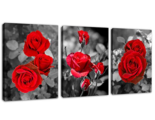 Canvas Wall Art Red Roses Picture Blossomed Rose Garden Canvas Artwork Prints Contemporary Wall Art for Living Room Bedroom Bathroom Kitchen Office Wall Decor Framed Ready to Hang 12