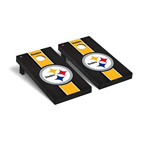 Pittsburgh Steelers NFL Football Regulation Cornhole Game Set Onyx Stained Stripe Version 2