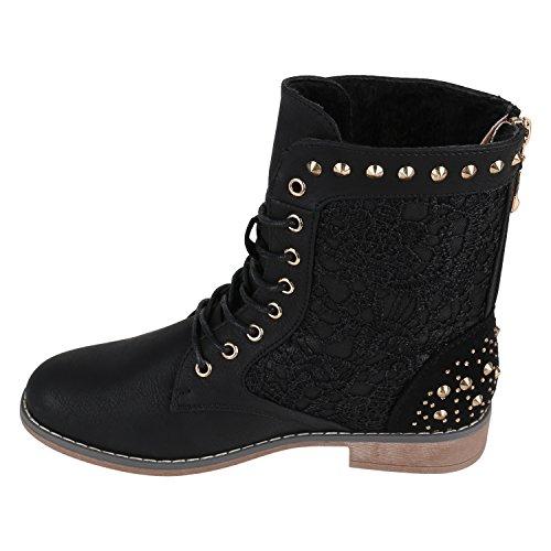 Stiefelparadies Damen Schnürstiefeletten Blockabsatz Boots Stiefeletten Zipper Booties Spitze Häkeloptik Leder-Optik Schuhe Übergrößen Flandell Schwarz Nieten