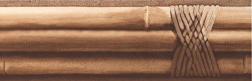 (Bamboo Sticks Tied Beige Brown Wallpaper Border Retro Design, Roll 15' x 4
