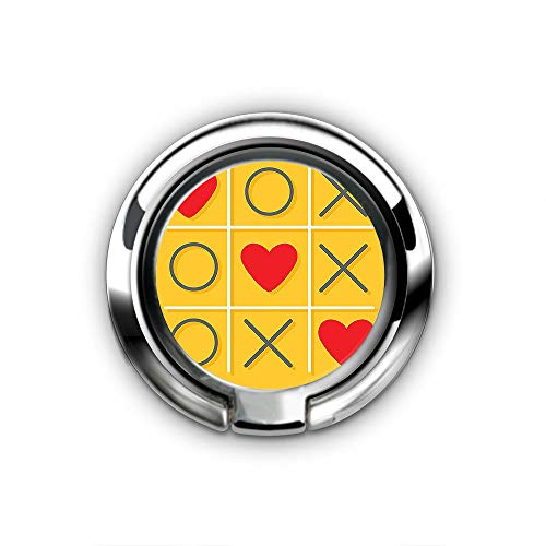 Finger Ring Stand Ultra-Thin Swivel Ring Buckle Phone Grip Cell Phone Stand for Universal Smartphone iPhone87Plus - Tic Tac Toe Game with XOXO Flat Design Let Me Kiss You Funny Playful Romantic
