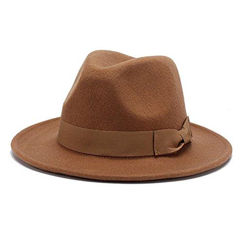 Wool Vintage Womens Hat - 100% Wool Fedora Hats For Women Vintage Wide Brim Fedora Cap (Brown)