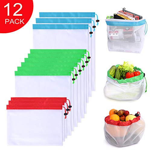 Reusable Produce Bags 12 Pack, Washable Premium Eco Friendly Mesh Bags with Drawstring For Grocery Shopping Storage, Fruit, Vegetable, and Toys (white, ()