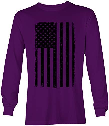 United States Military Marines T-shirt - Distressed Black USA Flag - United States Unisex Long Sleeve Shirt (Purple, Large)