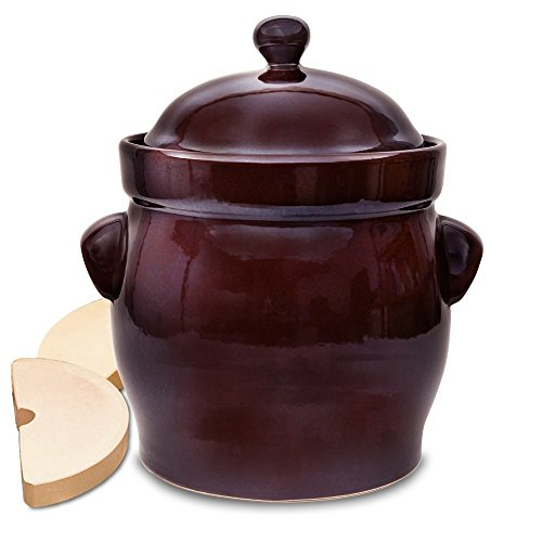 TSM Products Round Polish Fermenting Crock with Stone Weights, 10 L, Burnt Sienna by TSM Products