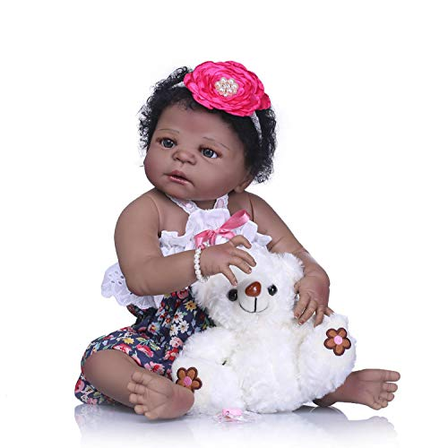 TERABITHIA 22 inch Cute African American Reborn Baby Doll,Little Bear Girl Doll Crafted in Silicone-Like Vinyl Full Body from TERABITHIA
