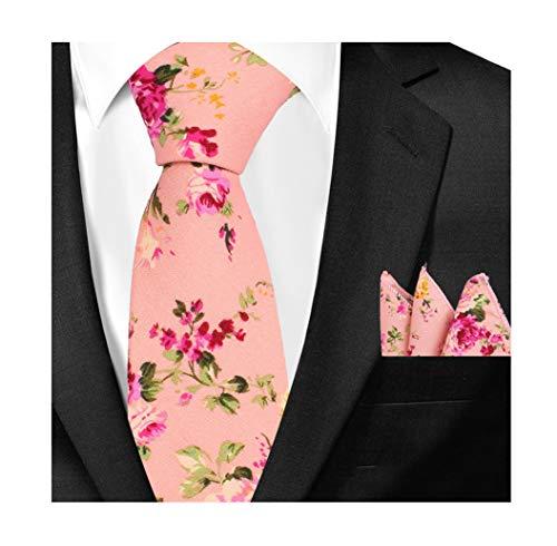 (Men's Cotton Ties Set Hot Pink Spring Romantic Wedding Neckties for Bridegroom)