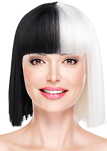 Black and White Wig Short Bob Straight Hair with Bangs for Cosplay Pop Singer Costume Party