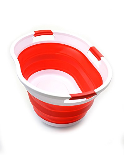 SAMMART 36L (9.5 Gallon) Collapsible 3 Handled Plastic Laundry Basket-Foldable Pop Up Storage Container-Portable Washing Tub-Space Saving Basket/Water Capacity 27L/7.1 Gallon (1, Red)