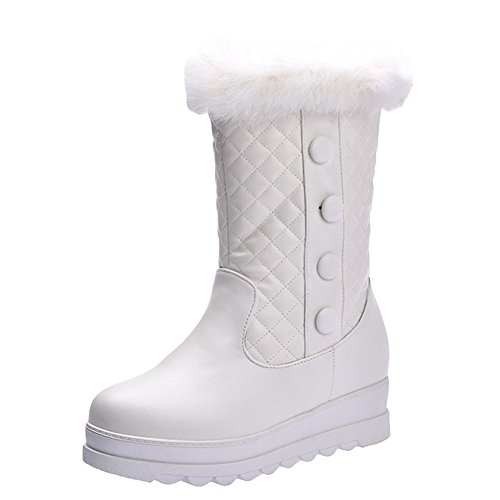 Carolbar Womens Faux Fur Fashion Comfort Platform Hidden Heel Snow Boots White oxg3KX