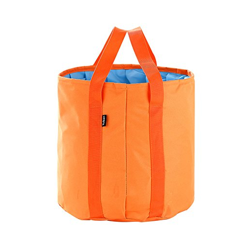 Collapsible Bucket 25L Big Capacity Foldable Pail Portable Water Container Oxford - Lightweight Compact Waterproof - Car Washing Fishing Camping Picnic Hiking Outdoor Travel Beach (orange)