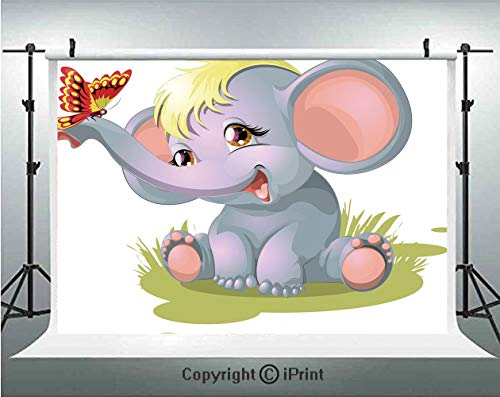Elephant Nursery Decor Photography Backdrops Newborn Animal Mascot Puppet Yellow Hair Fun Happiness Butterfly Decorative,Birthday Party Background Customized Microfiber Photo Studio Props,7x5ft,Multic