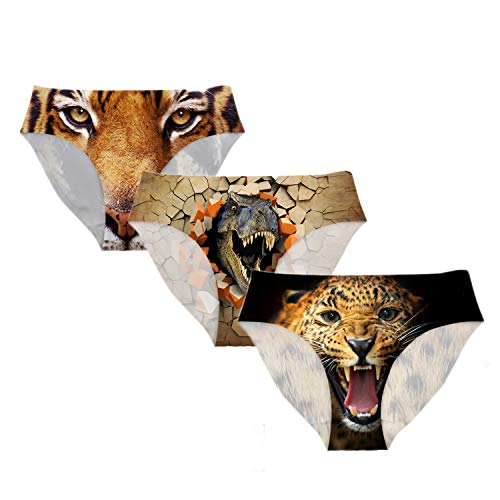 Xinind Fashion Women Underwear 3D Cool Tiger Dinosaur Animal Design Panties Hipster-Panties Low Waist Sexy Ladies Panties Lover Funny Gift