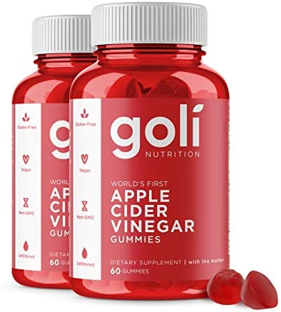 "Apple Cider Vinegar Gummy Vitamins by means of Goli Nutrition - 2 Pack - (120 Count, Organic, Vegan, Gluten-Free, Non-GMO, with""The Mother"", Vitamin B9, B12, Beetroot, Pomegranate)"