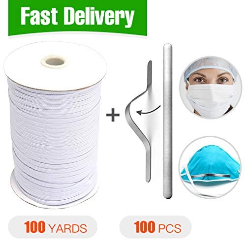 Braided Elastic Cord-Elastic String Cord(1/4 inch 100yards)+Aluminum Strips Straps Nose Bridge Strip-Flat Aluminum Wire(100pack) for Sewing Crafts DIY, Making Mask, Bedspread, Cuff DIY Ear Band Loop