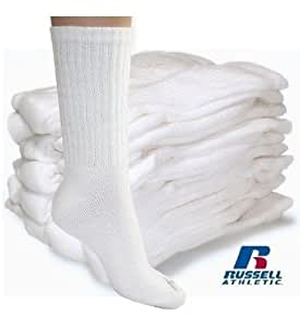 Russell Athletic Men's Performance Crew Sock (White - 12 Pair)