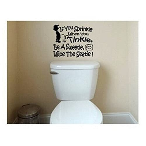 BERRYZILLA If You Sprinkle When You Tinkle Decal Wall Vinyl Bathroom Potty  SEAT Boys Training Lettering Art Quote Sticker (package Come With  Glowindark ...