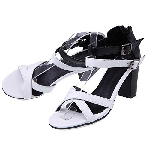 TAOFFEN Women Summer Ankle Strap Sandals Shoes White MQBmyTQ3
