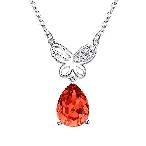 BriLove Women 925 Sterling Silver Pendant Necklace, Swarovski Crystal Butterfly Teardrop Necklace Orange Red