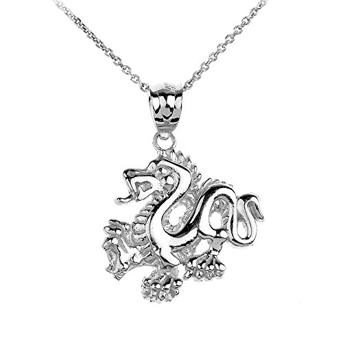 10k White Gold Chinese Dragon Charm Pendant Necklace, 22