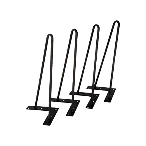 TC-Home Set of 4 3/8'' Solid Metal Bar Hairpin Table Legs With Screws 8'' 12'' 16'' 18'' 22'' 28'' (16'') by TC-Home