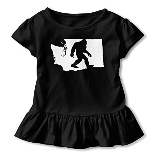 (SC_VD08 Washington State Bigfoot-1 Kids Children Round Collar T-Shirt Sportwear Black)