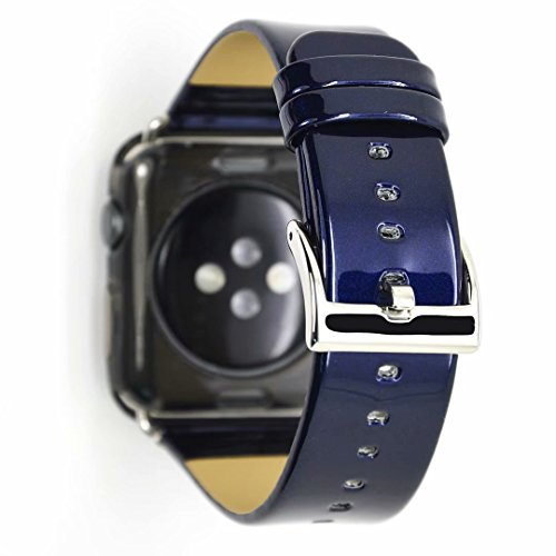 Clatune Patent Leather Band Strap Bright Pure Color Wristband Bracelet Compatible with 44mm Apple Watch Series 4, 42mm Apple Watch Series 3/2/1 - Royal Blue ()
