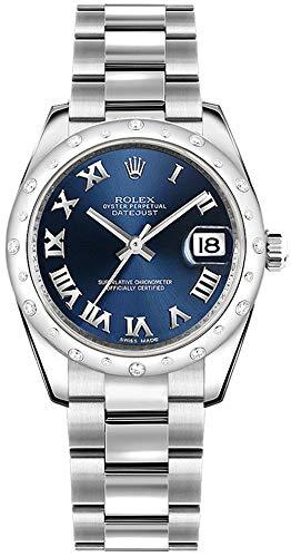 Rolex Datejust 31 Blue Roman Numeral Dial Diamond Women's Watch with Oyster Bracelet 178344