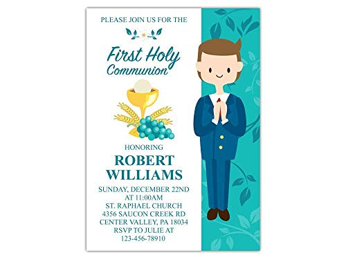 Custom First Holy Communion Religious Party Invitations for Boy, 10pc-100pc 4