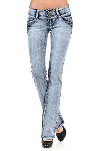 VIRGIN ONLY Women's Slim Bootcut Jeans (Light Blue, Size 7)