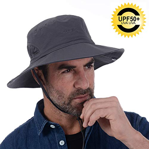 (Bucket Hat, Safari Hat UPF 50+ Sun Protection Hat Boonie Hat Cap for Outdoor Fishing Hunting Gardening Hiking (Dark Grey))
