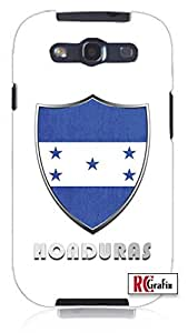 Honduras Flag Badge Direct UV Printed Unique Quality Rubber Soft TPU Case for Samsung Galaxy S3 SIII i9300 (WHITE) by lolosakes