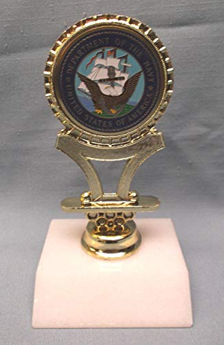 United States Department of The Navy Trophy Award cast Metal Marble Base