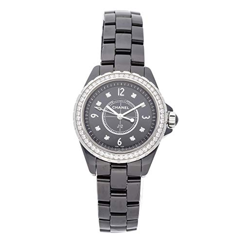 Watch Black Ceramic Chanel - Chanel J12 Quartz (Battery) Black Dial Womens Watch H3108 (Certified Pre-Owned)