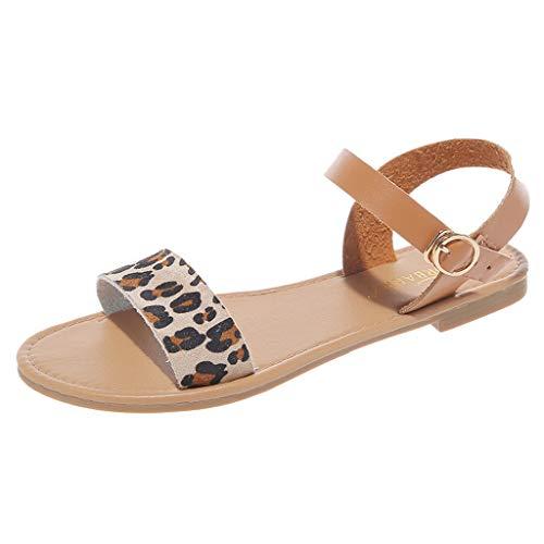 Women's Open Toe Flat Sandal Adjustable Ankle Strap Buckle Soft Faux Leather Summer Dress Sandals Casual Roma Shoes Khaki