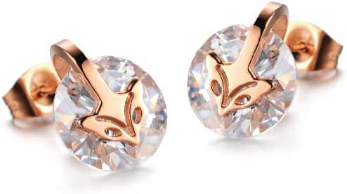 Women's Earrings Inlaid Zirconia Rose Gold Plating Fox Titanium Steel Earrings Stud Earrings in a Gift Box