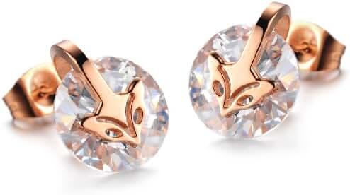 Women's Earrings Inlaid Zirconia Rose Gold Plating Fox Titanium Steel Earrings Stud Earrings in a Gift Box