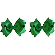Hair Bow Set for Girls (2) 4.5 Inch Grosgrain Ribbon Hair Bows by Funny Girl Designs