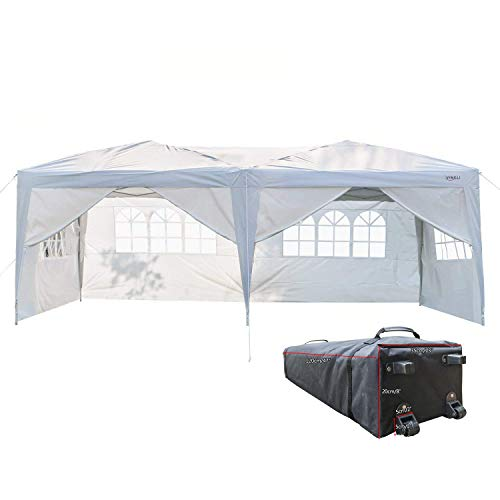 Panels Tailgate Side Tent - VINGLI 10'x20' EZ Pop Up Canopy Tent with 6 Removable Side Wall Panels, Folding Instant Wedding Party Gazebo W/Wheeled Carrying Case Bag White