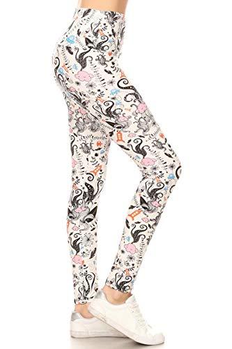 (LY5X-S695 Mixed Cartoon Yoga Print Leggings, Plus)