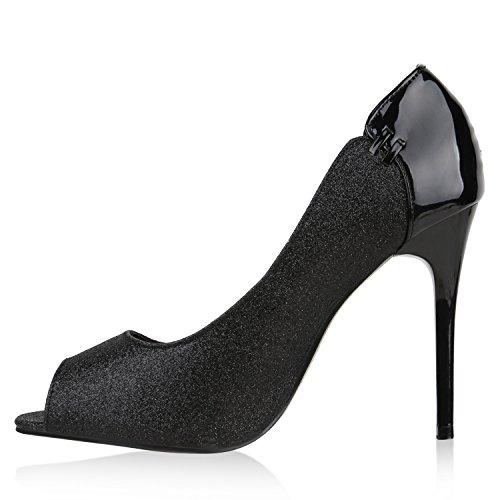 Stiefelparadies Spitze Damen Pumps Stiletto High Heels Lack Leder-Optik Schuhe Elegante Absatzschuhe Party Abendschuhe Abiball Flandell Schwarz Amares