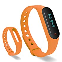 Lincass Touch Screen OLED Smart Healthy Bracelet Watch Wristband Sport Gym Fitness Tracker Stopwatch Passometer WristWatch Phone Mate Supports Android 4.3 or Above Android Smartphones (Orange)