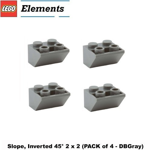 Lego Parts: Slope, Inverted 45ÃÂð 2 x 2 (PACK of 4 - DBGray) by